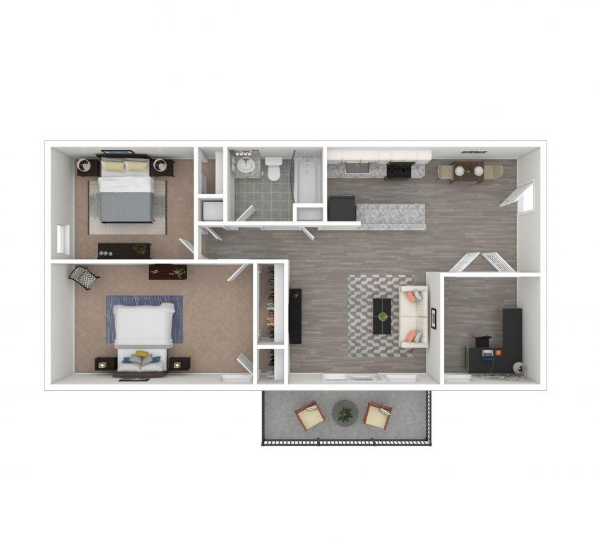 2 Bedroom Deluxe + Flex Work Space